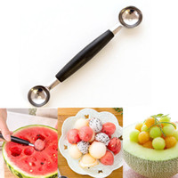 Wholesale Double End Ball - Stalinless Steel Kitchenware Double End Kitchen Cooking Tools Accessories Melon Ball Fruit Spoon Ice Cream Dessert Sorbet