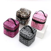 Wholesale Double Makeup Bag - PINK Makeup Bag Victoria Classic Love Pink Secret Cosmetic Bags Double Zipper Handbag Portable Storage Bag 17*17*17cm DHL Free Shipping