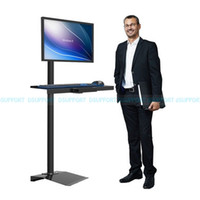 Wholesale Tv Lifts - Wholesale- W840 Full Rotation Free Lifting Floor stand Monitor Keyboard Tray Holder monitor stand Sit-Stand Workstation TV wall mount