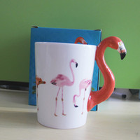 Wholesale Paint Trays - Flamingo Ceramic Coffee Mugs Creative Cups Drinkware 3D Bird painting Cup for Valentine's Day 12oz Flamingo Handle Beer Wine Mug DHL