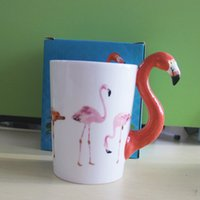 vögel tasse großhandel-Flamingo Keramik Kaffeetassen Kreative Tassen Drinkware 3D Vogel Malerei Tasse für Valentinstag 12oz Flamingo Griff Bier Wein Becher DHL