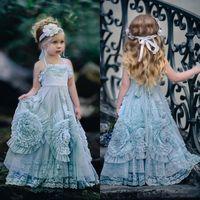 vestido de princesa niña única al por mayor-2017 Vestidos de niña de flores Halter Princesa Niños Vestidos de fiesta de cumpleaños Diseño único 3D Hecho a mano Flores Encaje Chica Vestido del desfile