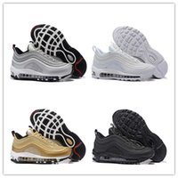 Wholesale Women Trainers Sale - Hot Sale Classical MAX 97 Men Running Shoes Silver Bullet Metallic Gold Men Women trainers Shoes Fashion Sport Shoes With Box