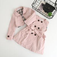 Wholesale Trench Tutu - Everweekend Kids Girls Vintage Trench Dress with Jackets 2pcs Sets Candy Color Autumn Winter Cute Children Fashion Clothing
