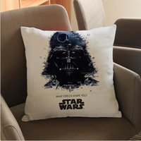 Wholesale Wholesaler Cushion Printing - Star Wars Printed Cotton And Linen Pillow 45cm Stormtrooper R2-D2 Darth Vader Plush Doll Toys Star War Cushion Pillow Case