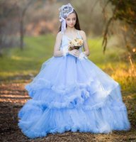 Wholesale High End Girls Dresses - Sky Blue 2017 Pretty Lush Tulle Pageant Dresses For Girls High End Tiered Ruffles Graduation Gowns Children Communion Dresses