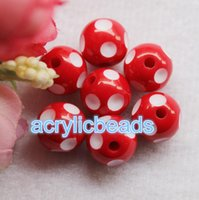 50PCS Fashion 14MM Chunky acrylique Polka Dot Round Resine Gumball Beads Plastic Bubblegum Balls Jewelry Making DIY