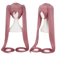 Wholesale Miku Wigs - FEELING WELL Cartoon Women Short Pink Wigs with Long Ponytails Split Type Cosplay for Vocaloid Miku Figure