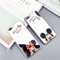 Wholesale Iphone Cover Lover Cartoon - Luxury Mirror Cartoon Mickey Minnie Case for iPhone 7 Lovers Plating Soft Phone Cover For iPhone 6 6s 7 Plus Coque Shell Fundas