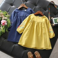 Wholesale Wholesale Boutique Formal Dresses - New Girls Dresses Flower Embroidered Long Sleeve Boutique Kids Clothing Girl Dress Cotton Cute Girl's Dresses Yellow Navy A7544