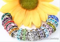 U3522 100 pcs / lote 10mm 12mm Branco misturado Multicolor Rhinestone Silver Plated Big Hole Crystal European Beads spacer, Loose Bead Bracelets w62