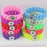 Wholesale Clip Charms Mixed - New Wholesale Mix Colorssnap on jewelry silicone chain snap bracelet Fashion Snap Button Noosa Chunks Charm Bangles Fit 18MM clip on buttons