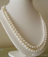 "Wholesale White Akoya Cultured Pearl Necklace - FFREE SHIPPING**Long 50"" 7-8mm Genuine Natural White Akoya Cultured Pearl Hand Knotted Necklace"