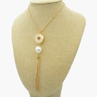 collar de borla de imitación al por mayor-Nuevo DJ0130 Beauty SilverGolden Moda perlas de imitación de la borla de la cadena collar Snap 50 cm fit DIY 18 MM botones a presión joyas