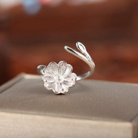 Real Sterling Silver 925 Plated White Gold Semi Monte Flower Women Ring para Pérola ou Redondo Beij 6-8mm Fine Jewelry Setting Ajustável