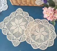 Wholesale Wedding Eco Friendly Placemat - Wholesale-Flower Placemat Round Doilies Vintage Beige Crochet Lace Doily Cotton Yarn Handmade For Wedding Home Table Decoration 28CM