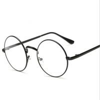Wholesale Nerd Glasses Clear Frames - Peekaboo Cheap small round nerd glasses clear lens unisex gold round metal frame glasses frame optical men women black uv oculos