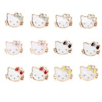Wholesale Crystal Kitty Cat Earrings - Newest fahion cute women girls lovely kitty cat stud earrings fashion hello kitty ear jewelry free shipping wholesale with colorful