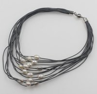 multi-strang silber perlenkette großhandel-Neue 11-12mm White G / Barock Süßwasser Perle Multi-Strang Leder Halskette