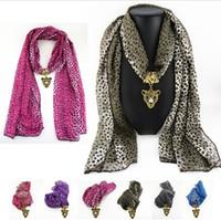 Wholesale Leopard Pendant Scarves - Chiffon Sexy Leopard Print Multi 5 Colors Tiger Pendant Scarf Long Lady Scarves Free Shipping Hot Sale