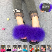 Wholesale Orange Platforms Heels - 2017 Fur Slide Flip Flops Women Ostrich Feather Home Slippers Female Sweet Fenty Wedges Sandals Beach Pantufa Platform Chinelo
