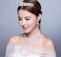 Wholesale Pearl Necklace Earing Set - Modest Crystal Pearls Wedding Jewelry, Rhinestone Silver Wedding Necklace ,Earing ,Crown Bridal Jewelry Sets Engagement For Women Marriage