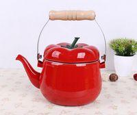Wholesale Enamelled Pots - 1.5L Enamel kettle tomoto shape dinerware teapot soup tools samovar electric kettle tetera pot Kitchenware soup bottle