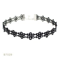 Wholesale Lace Pearl Choker - (10 pcs lot) Black Lace Black Pearl Lace Leather Boho Bohemia Statement Choker Necklaces Set for Women Men Gift Collar Jewelry Dog Collar