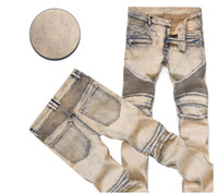 Wholesale Rock 34 - Hot 2017 Vintage Distressed Ripped Skinny Jeans For Men Slim Fit Motorcycle Moto Biker Men's Denim Hip Hop Rock Star Mens Pants