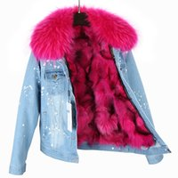 Wholesale Large Hooded Jackets Women - brand 2017 winter jacket coat women Holes Denim jacket natural real large raccoon fur collar and real Fox fur thick warm Liner