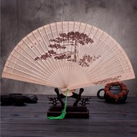 Wholesale High End Party Supplies Wholesale - The High-end Gift Hand Fan Sandalwood Incense with Imitation Yacca Hollow Printing with Fans Box Free Shipping ZA3500