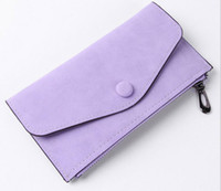 Wholesale Brown Square Envelopes - 2017 Fashion Women Wallets long dull polish envelope hasp& zipper Coin Purse Credit card Clutch bags