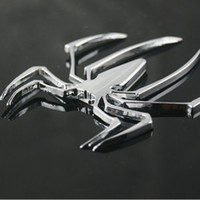 Wholesale Spider Decal Motorcycle - Car Styling Accessories 3D Metal Sticker Chrome Spider Shape Emblem Logo Motorcycle Decal For VW Audi Jeep Opel Skoda Benz Ford