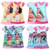 Wholesale Children Design Dresses - Summer Style Cotton 4 Designs Children Dress Moana Princess Girl Print Dress free shipping in stock