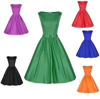 Wholesale Knee Length Tights For Women - Audrey Hepburn Vintage Dresses Emerald Green Tight Waist Women Fashion Dresses With Belt Vestidos Plus Size Casual Dress Sexy For Clubbing