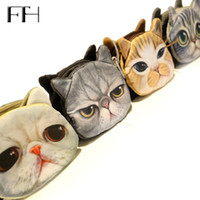 Wholesale oval clutches - Wholesale- Hot New style mini cute pet cheap women's coin Purse lovely kitty clutch for girls Kids children's pretty Zipper Change Wallet