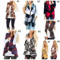 Wholesale Plaid Suit Jacket Women - Women Casual Plaid Sleeveless Cardigan Vest Coat Jacket Loose Suit Waistcoat Autumn Warm Cloak Coats 5pcs OOA3825