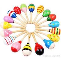 ahşap çan aletleri toptan satış-Ahşap Oyuncak İlkel Kabileler Renkli Bebek Küçük Kum Çekiç Karikatür Müzik Aletleri Vuruş Ahşap Çan Bebek Eğitici Oyuncaklar