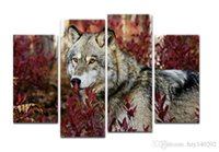 Wholesale Framing Stretched Canvas - YIJIAHE DW49 Canvas Painting Art 4 Piece Grey Wolf Wall Art Pictures Print on Canvas Stretched and Framed to Ready Hang for Living Room