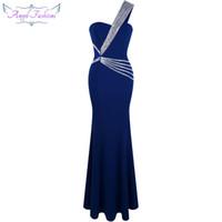 Wholesale Elegent Formal Dress - Angel-fashions Women's One Shoulder Elegent Beading Slim Long Mermaid Red Carpet Formal Occassion Party Dress A-345BE