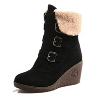 Wholesale wedge snow boots for women - Wholesale-New Winter Platform High Heels Wedge Boots For Women Fashion Buckle Strap Women Snow Boots Ladies Casual Winter Shoes 43