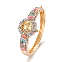 Wholesale Epoxy Bangle - New Design Diamond Watches Epoxy Flower Design Floral Watches Alloy Bangle Band Luxury Watches For Ladies 61166049