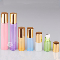 Wholesale Wholesale Rolled Steel - Colorful 3ml 5ml 10ml 15ml ROLL ON GLASS ESSENTIAL OIL BOTTLE Perfume stainless steel Roller ball fragrance bottle F2017228