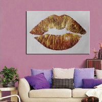 Wholesale oil painting for big walls resale online - Framed Pure Handpainted Big Lips Modern Abstract Art oil painting On High Quality Canvas For Home Wall Decor size can be customized