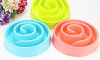 Wholesale Slow Dog Food Bowl - Free shipping snail-shaped pet single bowl of plastic dog bowl slow food anti-choke thick material dog supplies