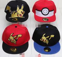 Wholesale anime pikachu hat - Anime Pocket Center Cosplay Cap Novelty cartoon Pikachu Poke Go Hat charms Costume Props Baseball cap 5 Colors Free Shipping