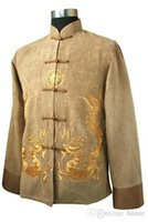 Wholesale Chinese Embroidery Jacket - Wholesale- Gold New Traditional Chinese Men's Fleece Embroidery Jacket Coat Long sleeve Tang Suit Dragon Size S M L XL XXL XXXL M1148