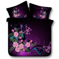 ropa de cama queen dolphin al por mayor-Juegos de cama 3D Purple Butterfly 4 piezas Conjuntos de edredón Modal Tiwn Full Queen King Size Funda nórdica Sábana Fundas de almohada serie Dolphins