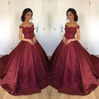 Wholesale maternity dresses for prom resale online - Vintage Burgundy Ball Gown Lace Evening Dresses Off The Shoulder Satin Prom Gowns For Sweet Quinceanera Dress