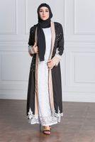 Wholesale Spandex Kaftan - New Arrival Plus Size Muslim Women Long Sleeve Open Cardigan Islamic Lace Kaftan Dress S-5XL Robes